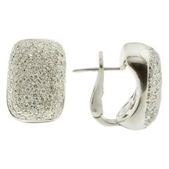 Pavé White Diamond and 18 Karat Gold Earrings