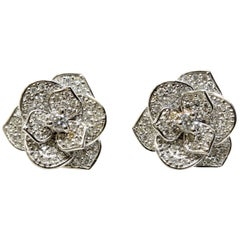 Pavé White Diamond and 18 Karat White Gold Flower Earrings