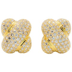 Pave White Diamond Earring Clips in 18 Karat Yellow Gold