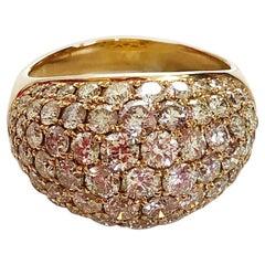 Pave White Diamond Round Cocktail Ring in 18 Karat Yellow Gold