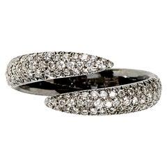 Eva Fehren Pave Wrap Claw Ring in 18 Karat Blackened White Gold White Diamonds