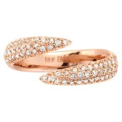 Eva Fehren Pave Wrap Claw Ring in 18 Karat Rose Gold Pale Champagne Diamonds