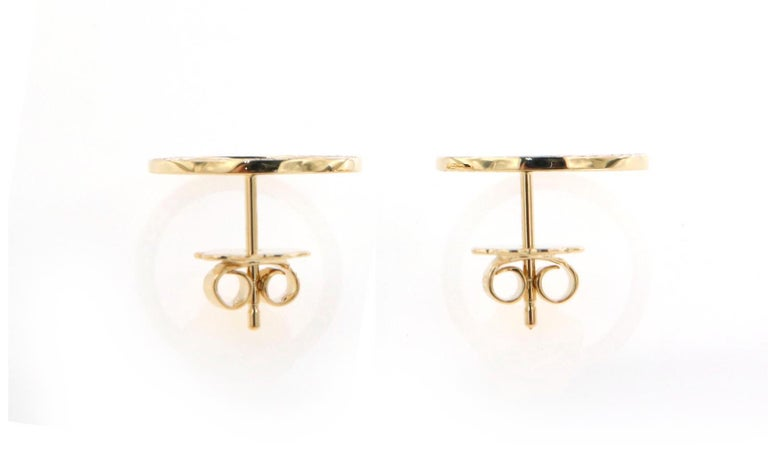 Modern Pave'd Diamond Circle Earrings in 18 Karat Yellow Gold For Sale