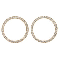 Pave'd Diamond Circle Earrings in 18 Karat Yellow Gold