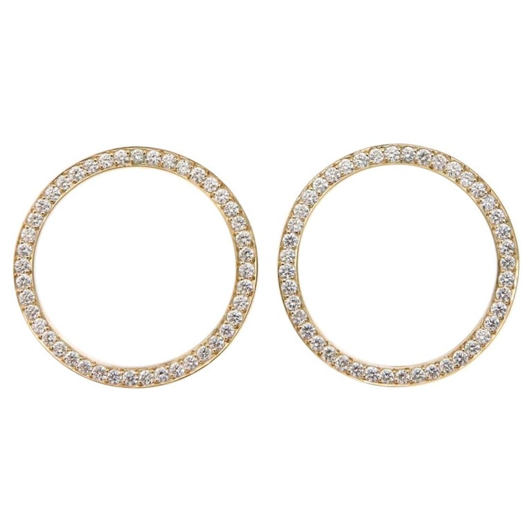 Pave'd Diamond Circle Earrings in 18 Karat Yellow Gold For Sale