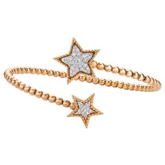 Paved Star Bangle Charm 0.43 Carat 18 Karat Gold Diamond Bracelet