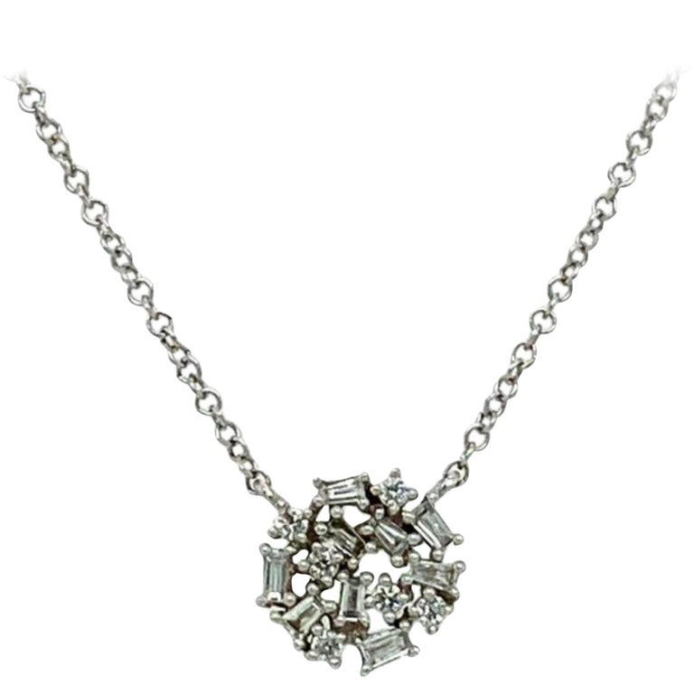 Pavee Diamond Pendant Necklace For Sale