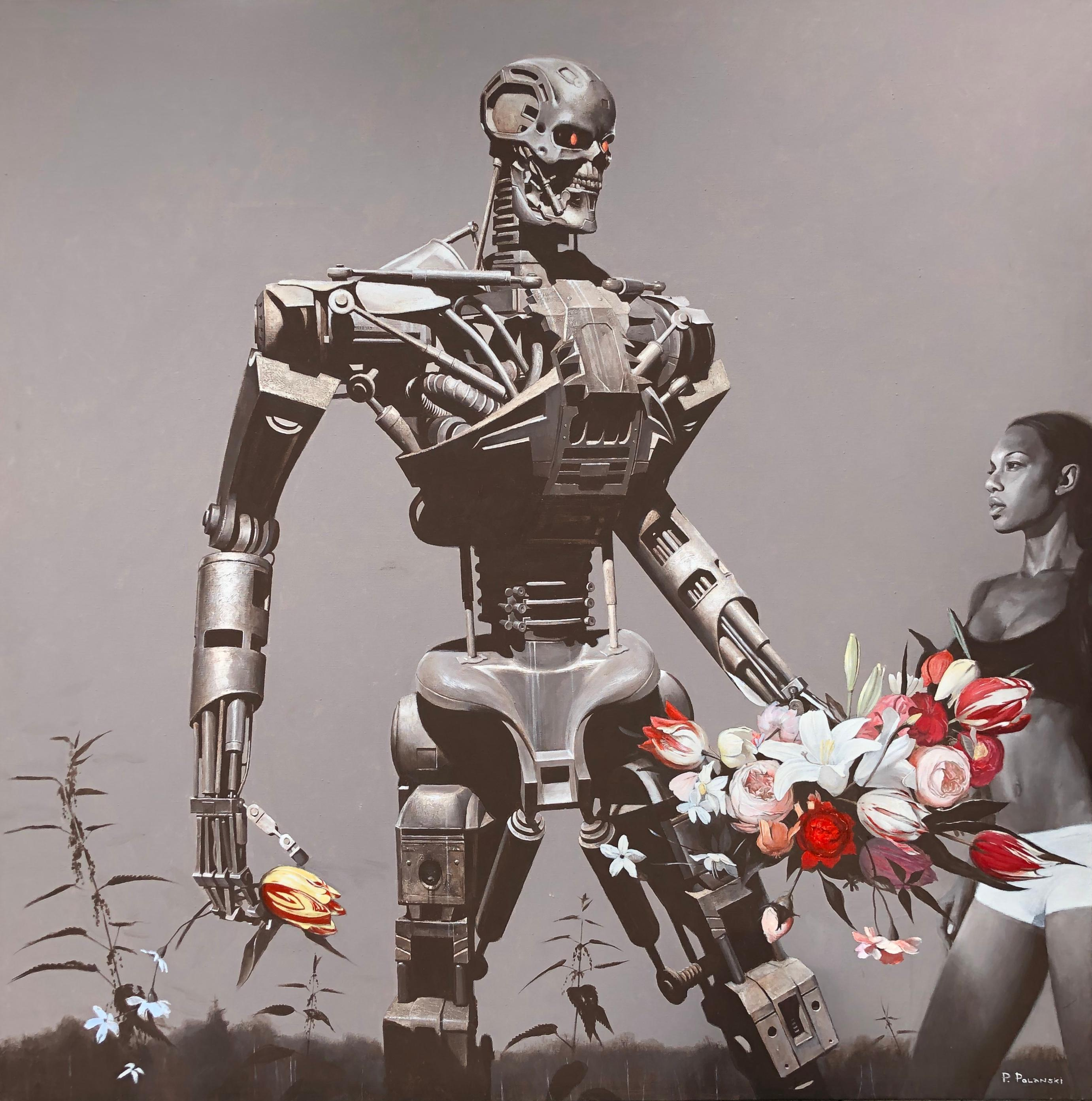Terminator - interior art, made in grey,sepia, white, black, red, pink color