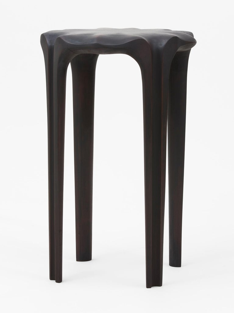 Hand-carved cherry wood and milk paint stool, side table and sculpture by Hudson Valley-based artist Christopher Kurtz. Inspired by the
