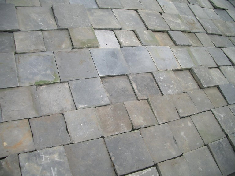 19th Century Paving Slabs in Old,  Belgian Bleu Stone For Sale