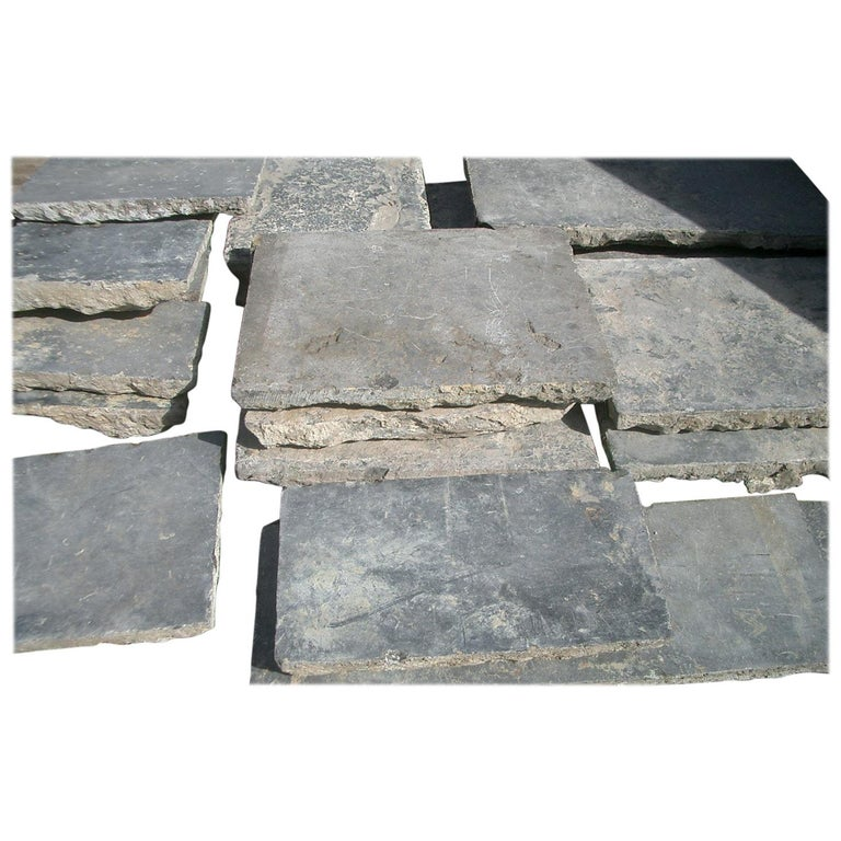 Paving Slabs in Old,  Belgian Bleu Stone For Sale