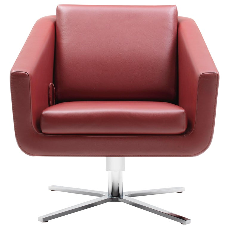 For Sale: Red (Barolo) Pavo Adjustable Leather Armchair by FSM