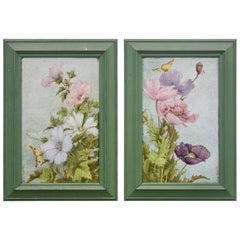 """""""Pavots"""" and """"Lavateres"""" a Théodore Deck Pair of Framed Enameled Faïence Plaques"""