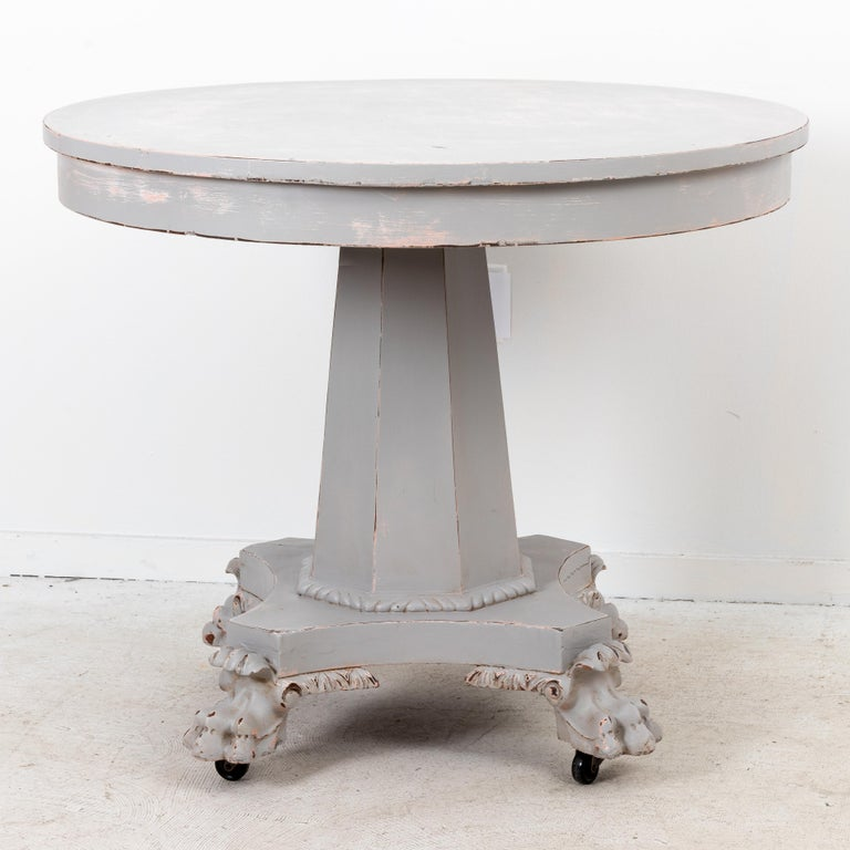 19th Century Paw Foot Empire Style Center or Breakfast Table For Sale