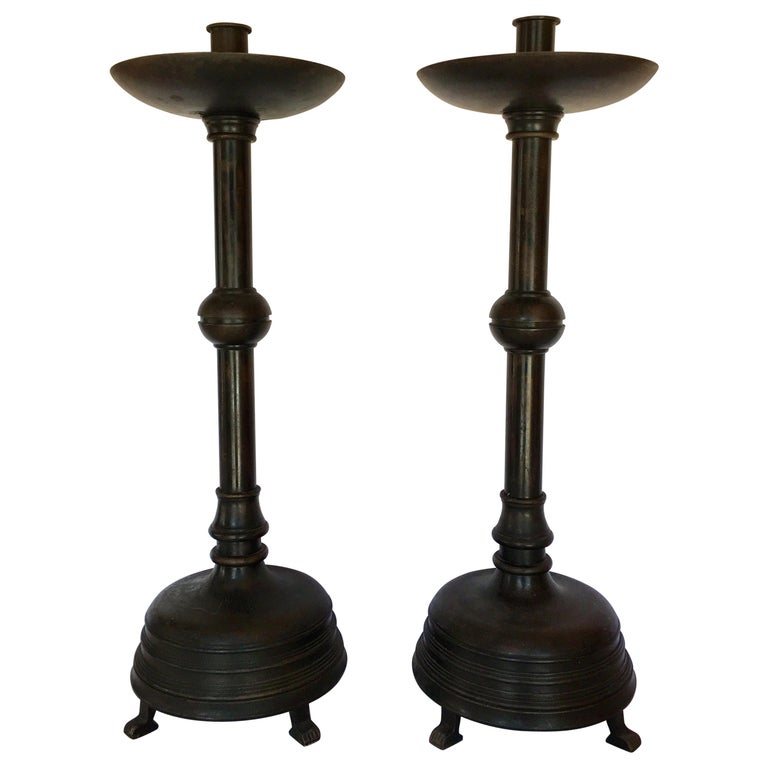 Paw Footed Bronze Metal Candlesticks, Pair