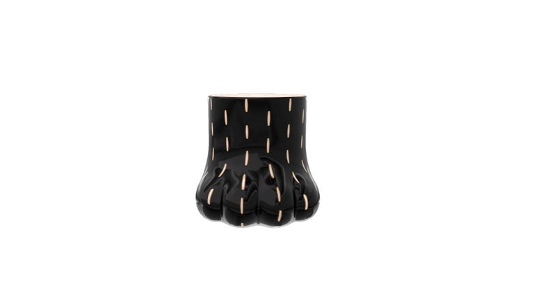 """Resembling the paw of an animal, paw stool side table with brass inlay by Marcantonio, has the balance to be used with either side up as a seat or table!  For his debut creations, Marcantonio introduced """"Vegetal Animal"""", a concept that evokes"""