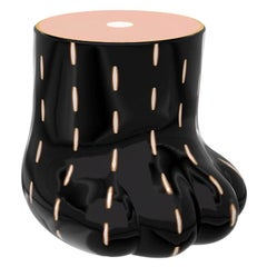 Paw Stool Side Table with Brass Inlay by Marcantonio