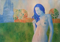 Untitled - Girl With Blue Hair - Surrealistic Oil Painting - Nude