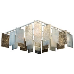 Paysage 8smq Contemporary Handcast Murano Glass Crystal and Opaline Chandelier