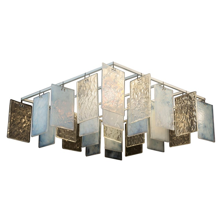 Paysage Contemporary Hand Cast Murano Glass Opaline and Crystal Chandelier For Sale