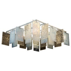 Paysage Contemporary Hand Cast Murano Glass Opaline Chandelier - four modules