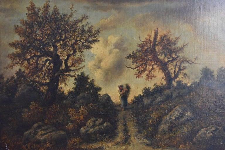 Huile sur panneau de Narcisse Diaz della Peña (1807-1876) paysage Barbizonien avec un personnage dans un trou de lumière. Dimension panneau 31 x 41 cm dimension cadre 56 x 66 cm.