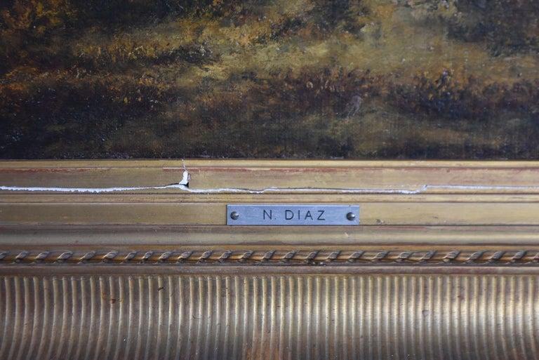 Painted Paysage de N. Diaz de la Peña fin XIXème For Sale