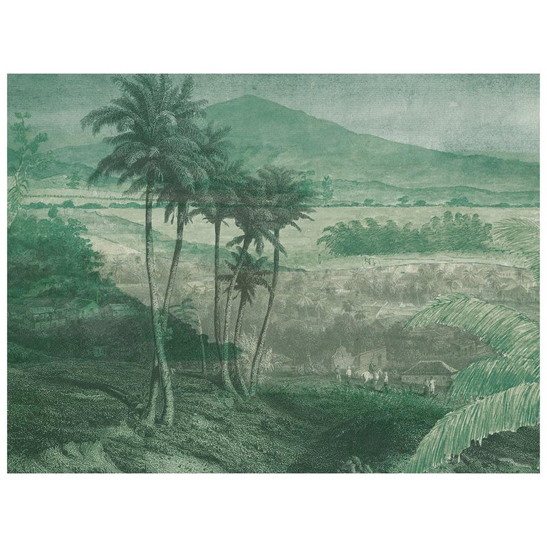 Paysage Lointain - custom mural wallpaper (neutral grey) For Sale