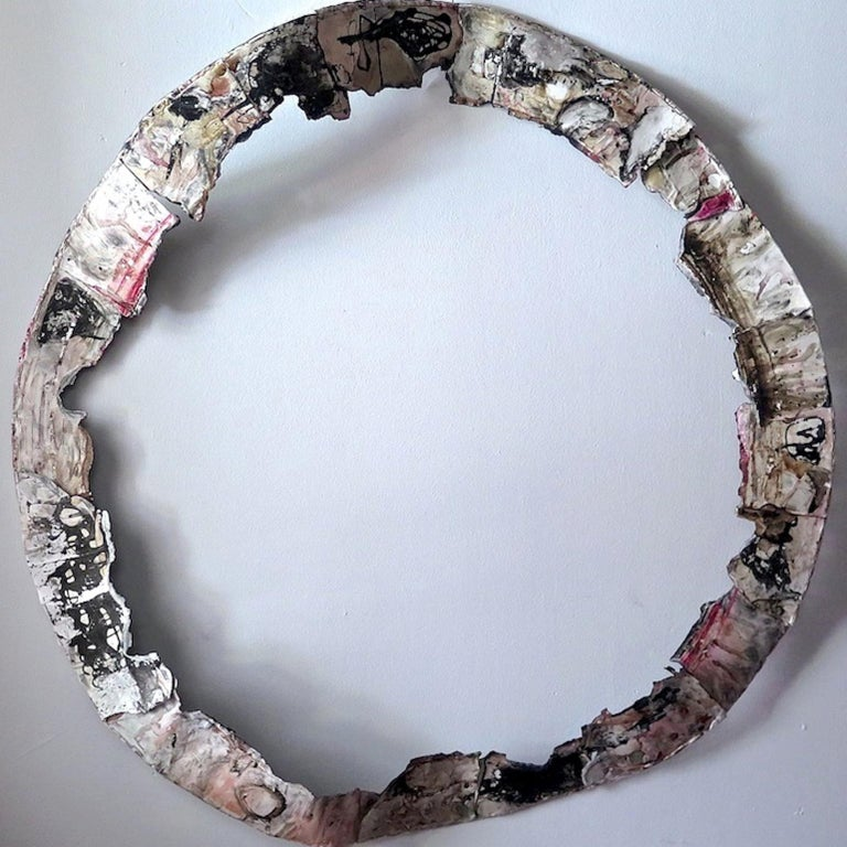 Paz Perlman, Zen Circle, 2017, Acrylic Paint, Found Objects, Paper, Coffee, Ink - Dada Sculpture by Paz Perlman