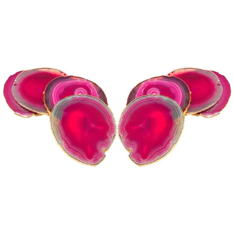 Including:  Set of Eight Semi-Precious Gemstone Coasters in Fuschia with 24-Karat Gold Trim f_20169792 List: $425  Set/ 8 Semi-Precious Gemstone Coasters in Pink and Turquoise with 24K Gold Trim f_20169852 List: $450