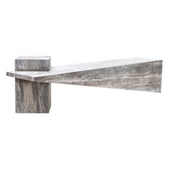 """P.dr "" Bench in Grey Marble by Andrea Macruz, Brazilian Contemporary Design"
