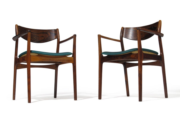 Danish P.E. Jorgensen Rosewood Dining Armchairs For Sale