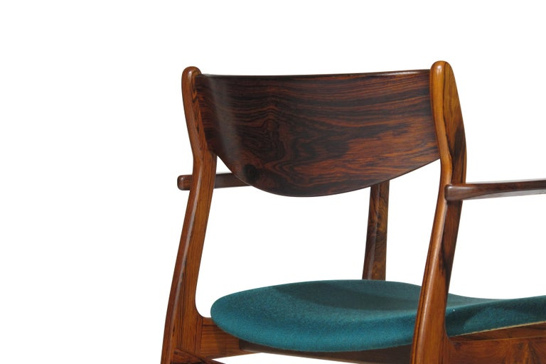 P.E. Jorgensen Rosewood Dining Armchairs In Excellent Condition For Sale In Berkeley, CA
