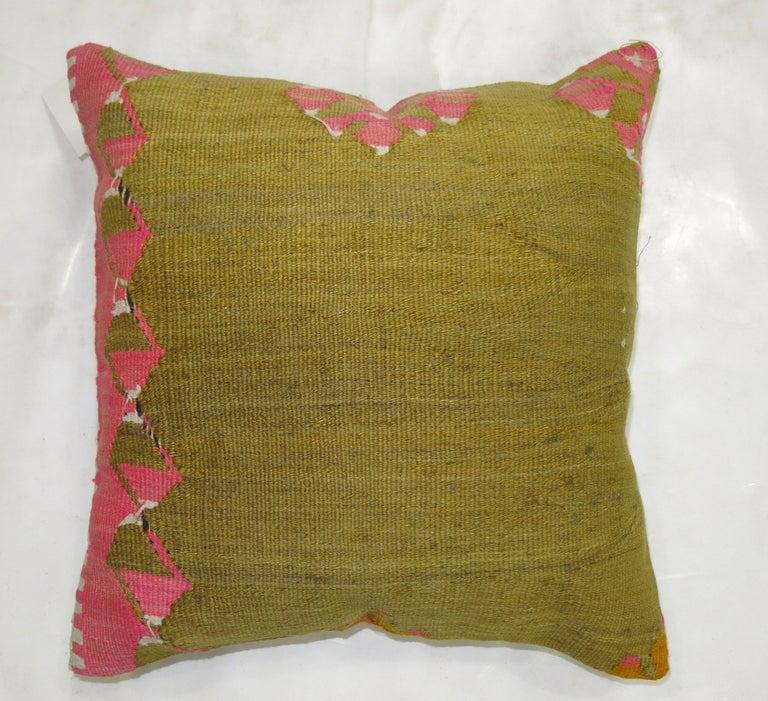 Tribal Pea Green Pink Turkish Kilim Pillow For Sale