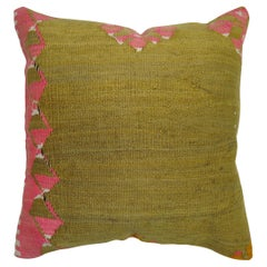Pea Green Pink Turkish Kilim Pillow