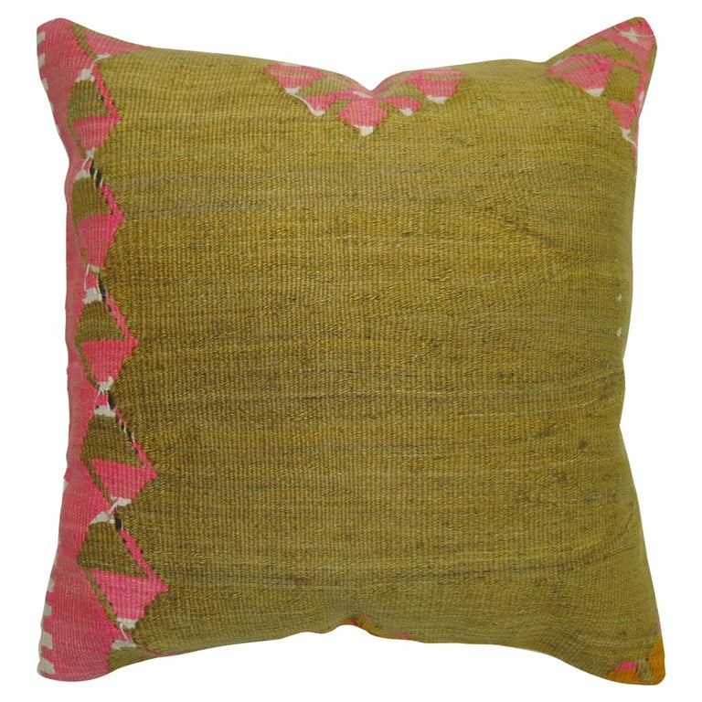 Pea Green Pink Turkish Kilim Pillow For Sale