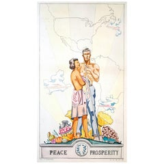 """Peace and Prosperity,"" Art Deco Mural Design for Fort Meade, Maryland"