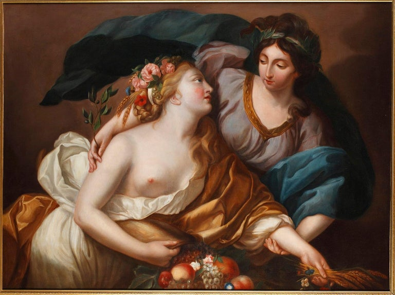 Large painting depicting peace bringing back abundance by a follower of Élisabeth-Louise Vigée Le Brun, (French, 1755-1842). High quality painting realized at the end of the 18th century after Vigée Le Brun's 1780 original work housed in the Louvre
