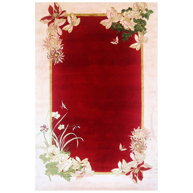Peace Love & Joy Hand Knotted Wool and Silk Rug by Wendy Morrison For Sale