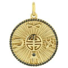 Peace Luck Infinity Medallion 14 Karat Gold Charm Diamond Pendant Necklace