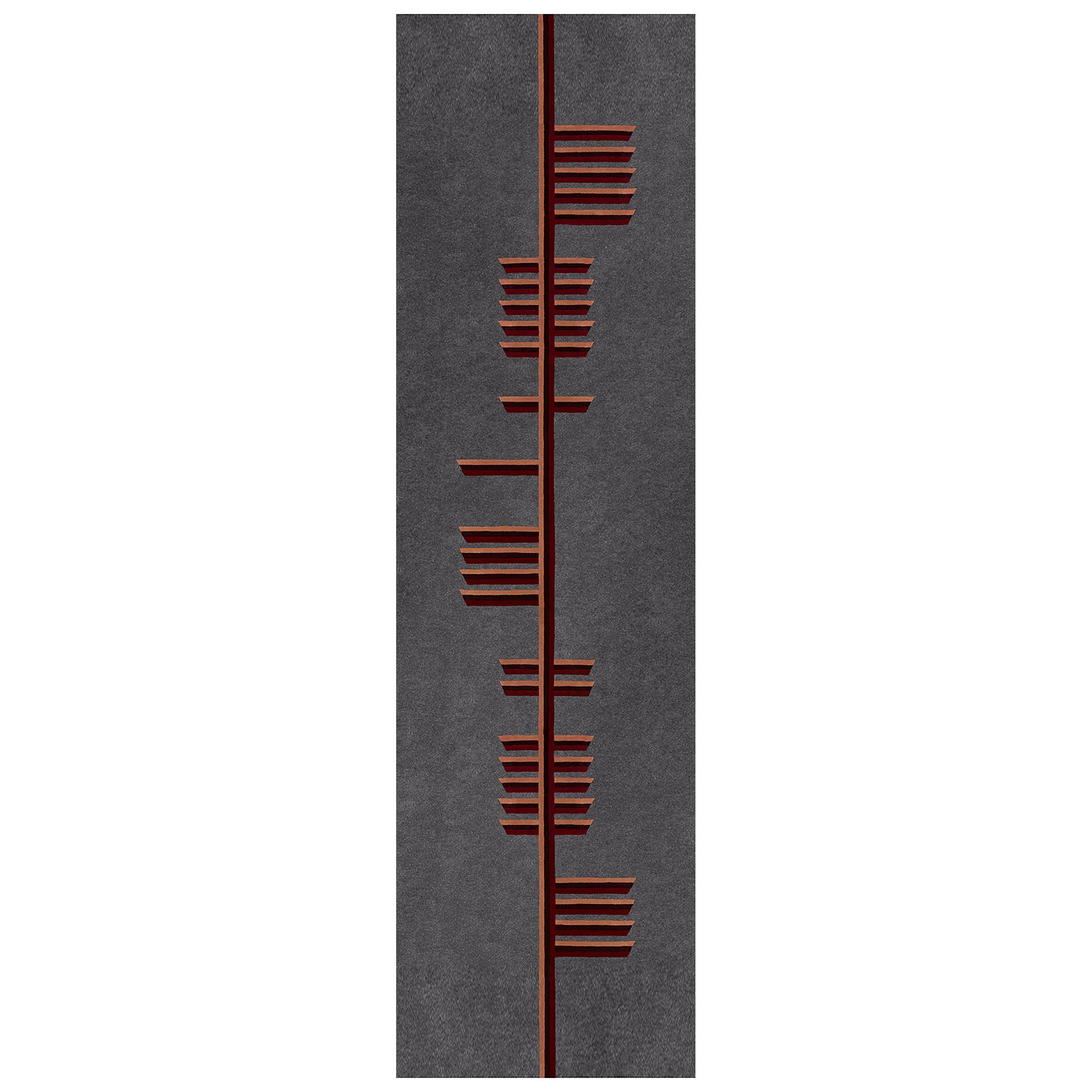 """PEACE"" Owl Grey, Red, Burgundy Tree Alphabet Carpet, Tapestry by Rhyme Studio"
