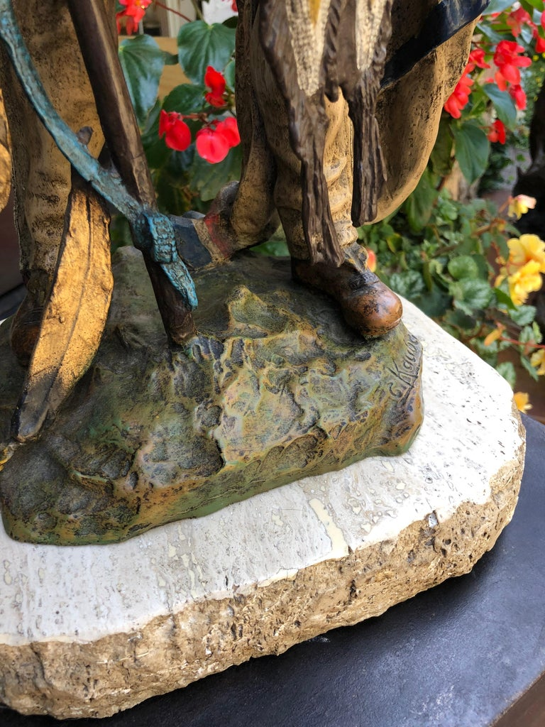 Signed bronze.  Carl Kauba was born August 13, 1865 in Vienna, Austria. The son of a Shoemaker, Kauba chose to follow his calling into the world of art. Collectors now rank him in a class with Remington and Russell as one of the great portrayers
