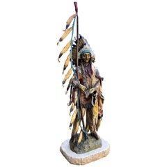 """Peace"" Painted Bronze Indian Sculpture Signed Carl Kauba"