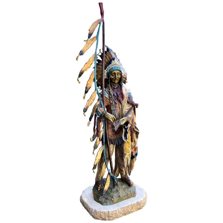 """""""Peace"""" Painted Bronze Indian Sculpture Signed Carl Kauba For Sale"""