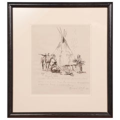 Peaceful Camp 1959, Ink and Graphite, Olaf Wieghorst, American