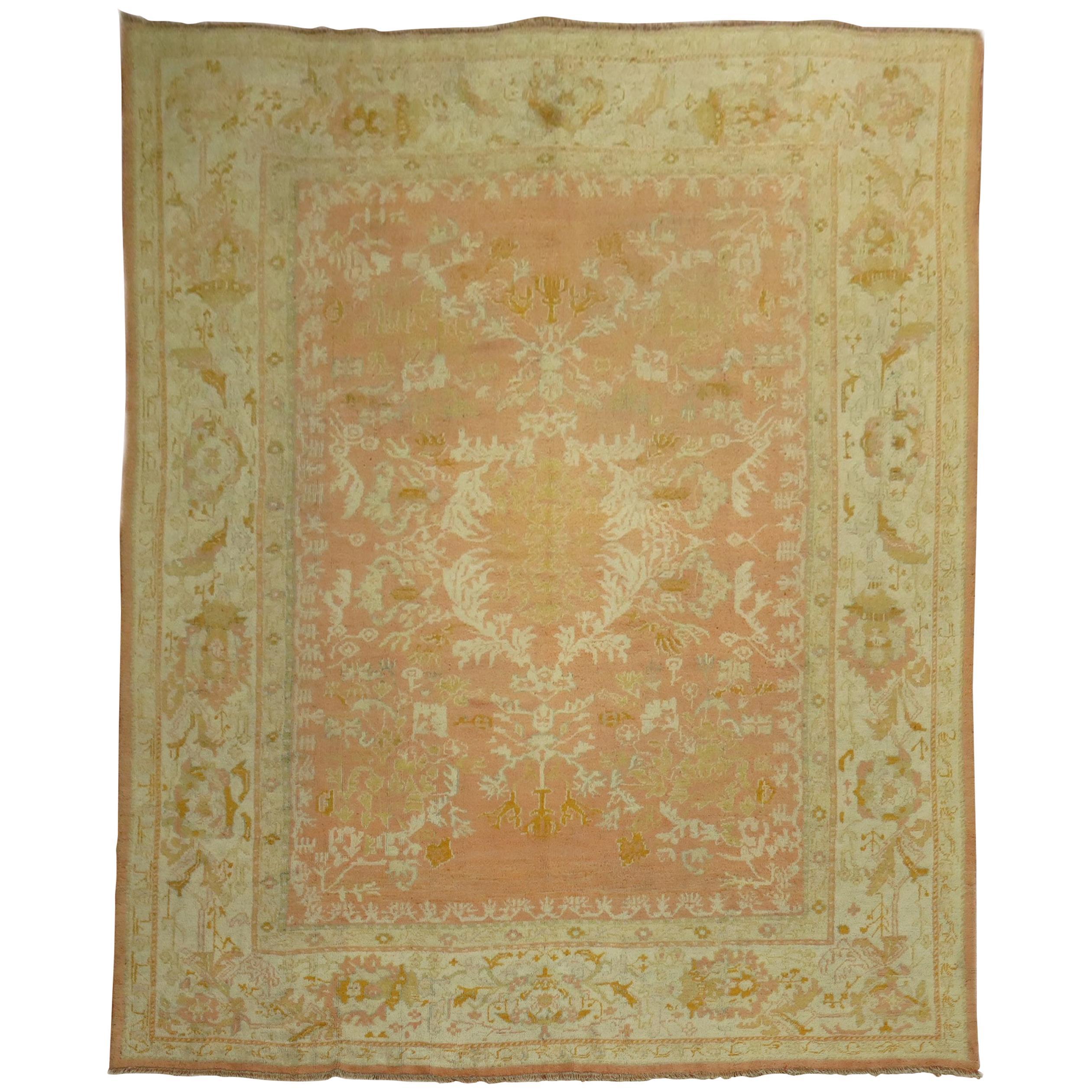 Peach Antique Turkish Oushak Carpet