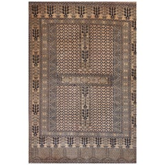 Peach Black Nude Afghan Hachlu Soft Wool Hand Knotted Rust Rug or Tapestry