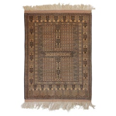 Peach Black Nude Turkmen Hachlu Soft Wool Hand Knotted Peach Rug or Tapestry