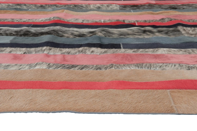 Machine-Made Peach, black & white stripes Nueva Raya Customizable Cowhide Area Rug Large For Sale