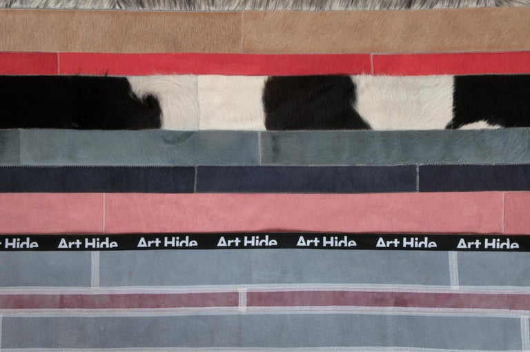 Peach, black & white stripes Nueva Raya Customizable Cowhide Area Rug Large In New Condition For Sale In Charlotte, NC